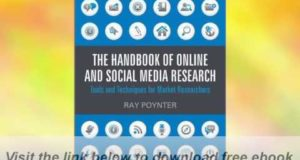 The Handbook of Online and Social Media Research: Tools and Techniques for Market E-Book